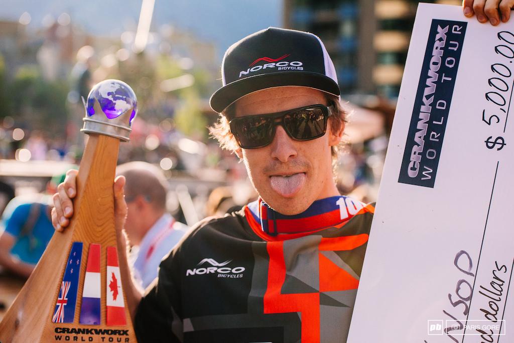 Sam Blenkinsop winner of the Crankworx World Tour DH runs.