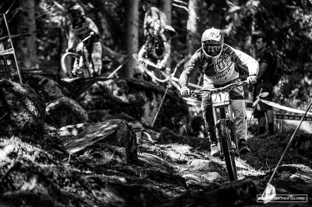 Gwin was quickly looking up to speed as he negotiated his way through the rough terrain.