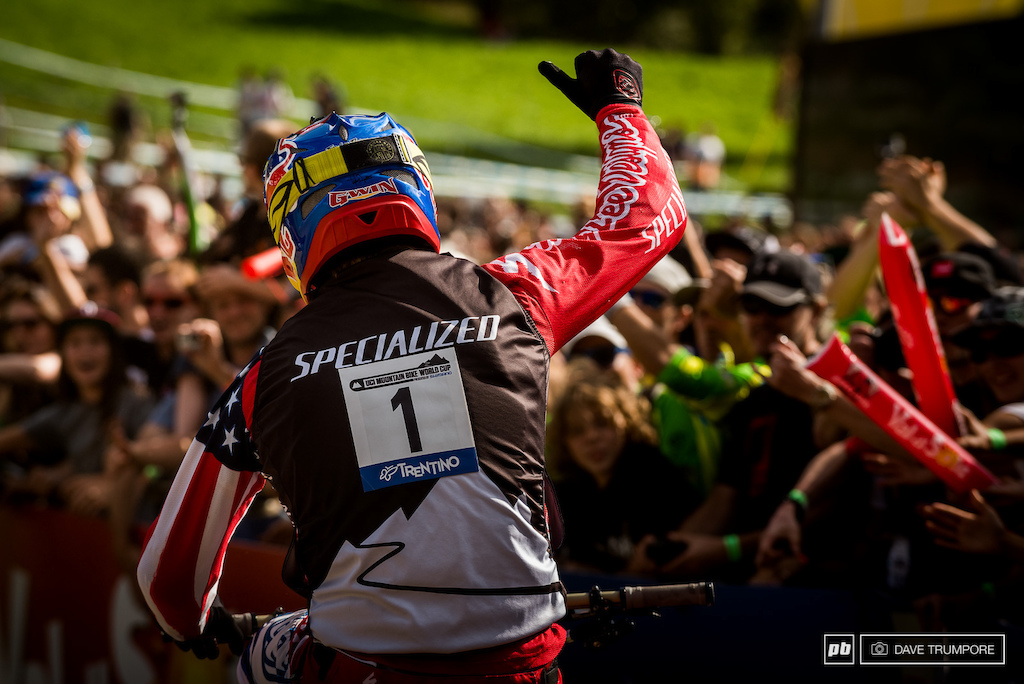 Aaron Gwin after crossing the line knowing that without a doubt the World Cup overall was his for the third time.