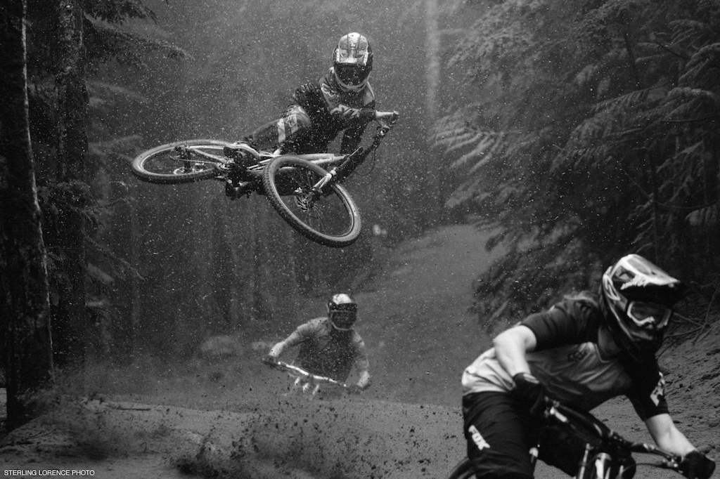 Ian Morrison, Thomas Vanderham, Finn Iles,  at Whistler Mountain Bike Park for the dirt blizzard segment of Unreal by Anthill films.