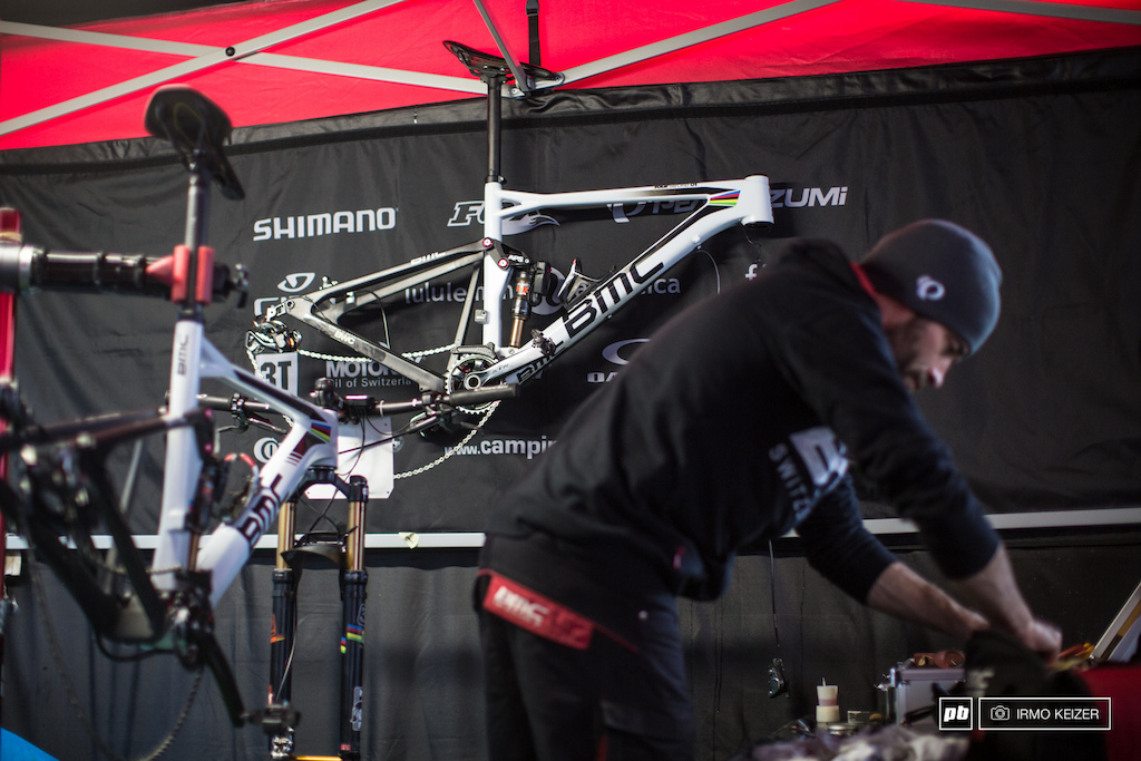 Absalon s shiny white bikes are being prepped for the 2015 World Championships by Sylvain Golay.
