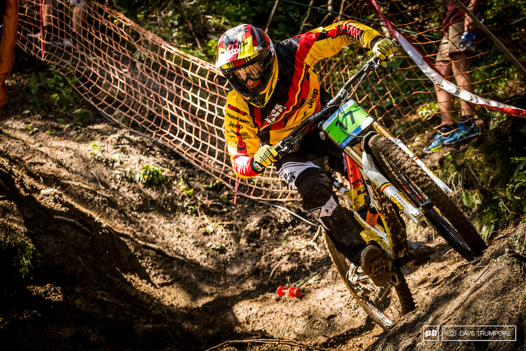 Martin Maes enjoying his time on the DH bike this week and looking to leave Andorra with some rainbow stripes.