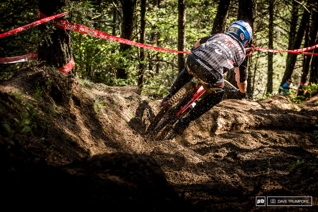 Brook MacDonald setting up to smash one of the many axle deep ruts the snake through the bottom woods.