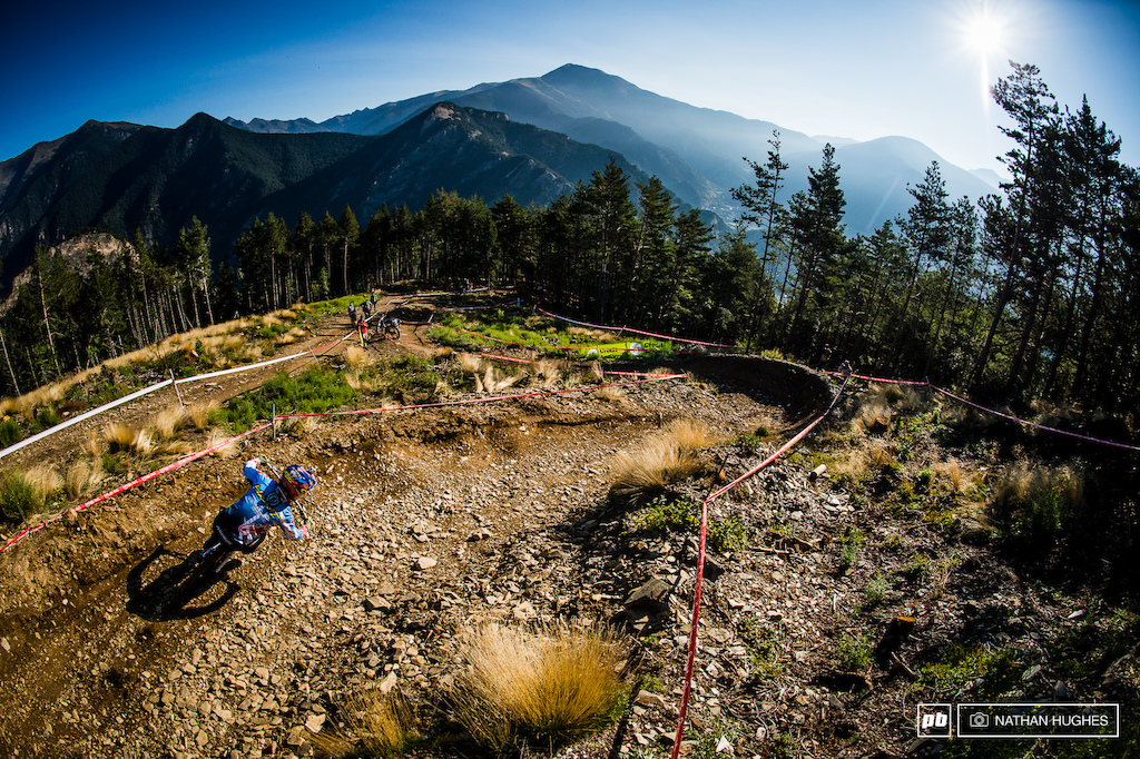 Danny Hart shreds the morning light on the second day of beautiful weather her in Andorra.