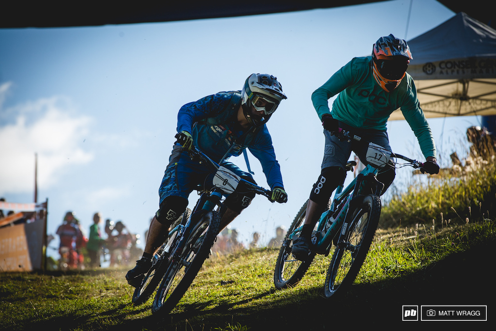 French Enduro Series overall champion for 2015, Sebastian Claquin, got up close and personal with Julien Camellini as they sprinted for the first corner.