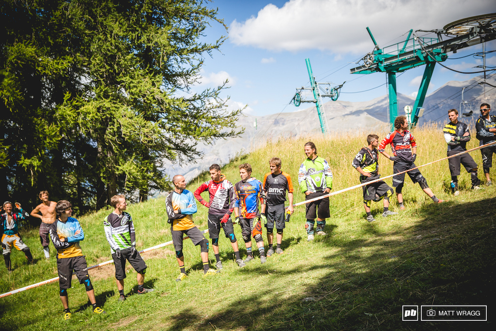 For stage six there was no pressure for amateur riders as they dropped into the woods. That is if you don't mind being heckled by a fair part of the EWS top ten...