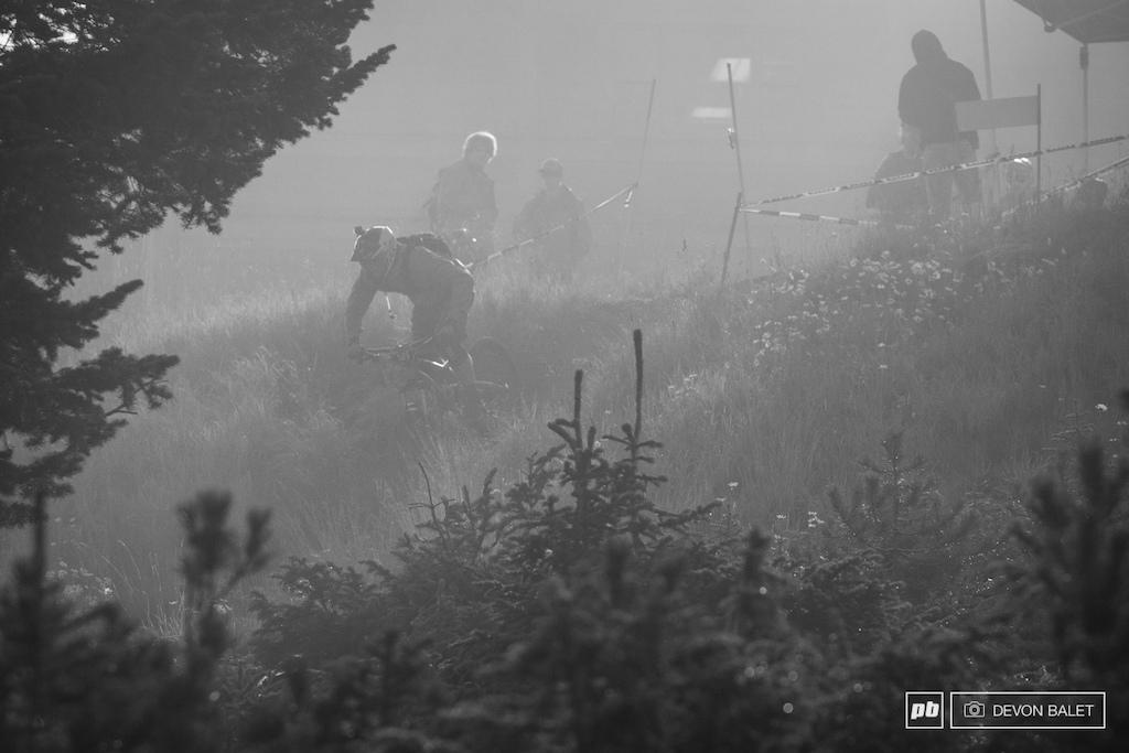 Rider in the mist.