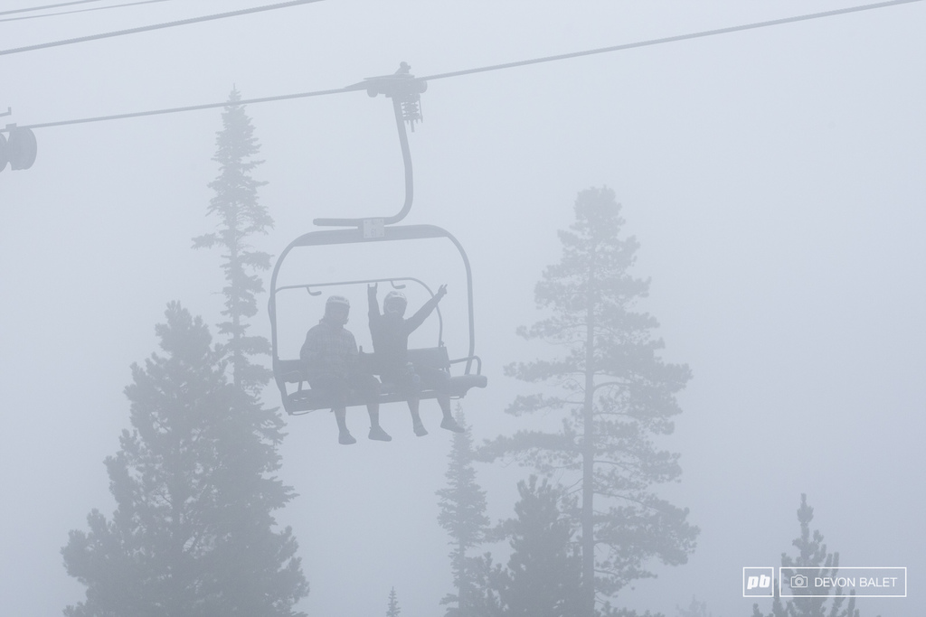 Mitch Parsons and Andrew Dunlap top out on the lift on a foggy start to day two.