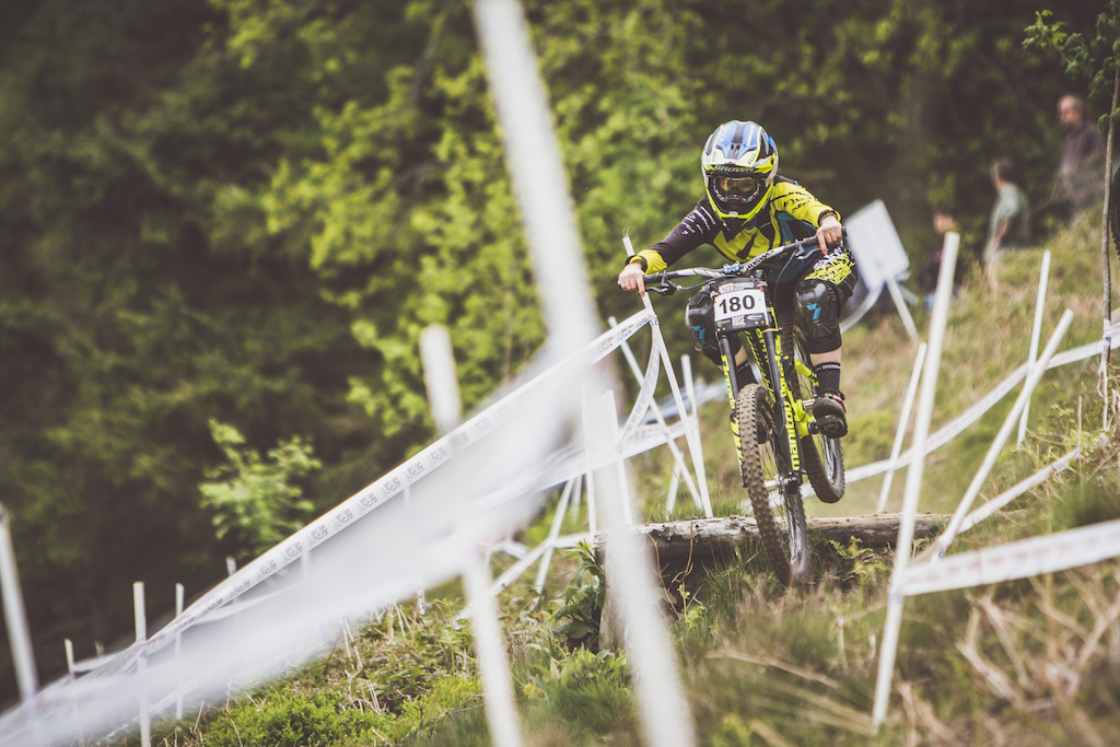Out of of the woods and flat out Casey flying off the drops on Track 3.