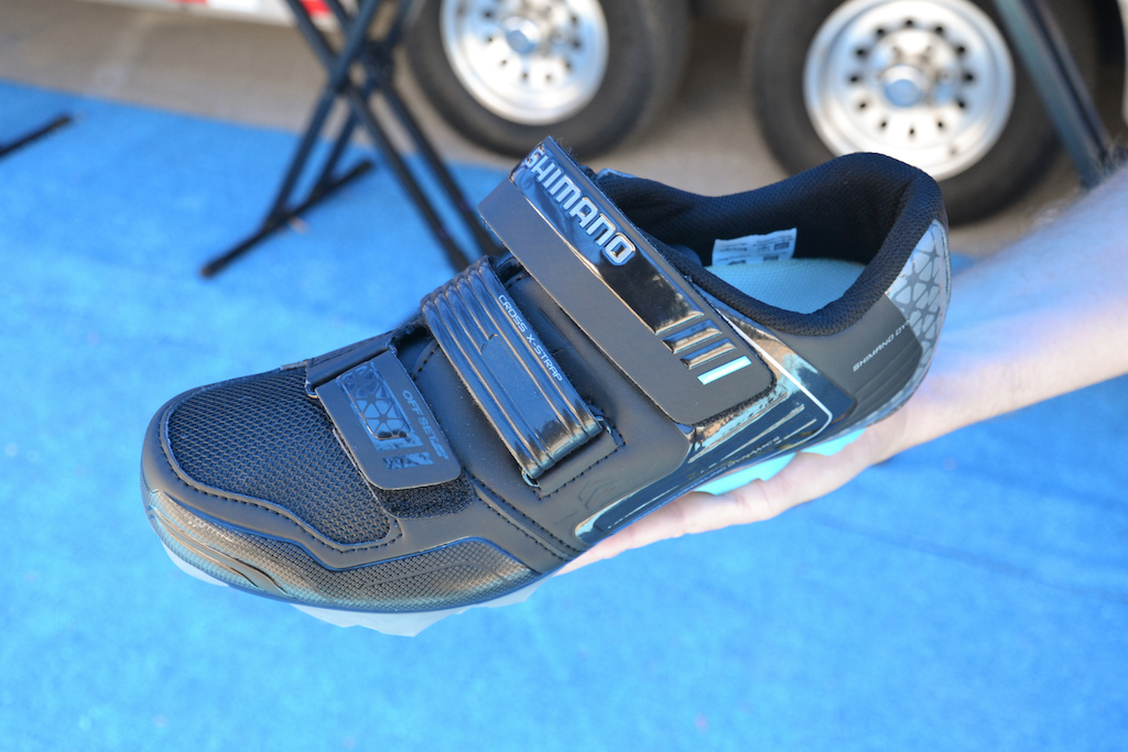 The Shimano WM53 are a slightly more affordable trail shoe with a stiffer glass fiber reinforced sole that is slightly more suitable for XC riding and racing and retails for 100.