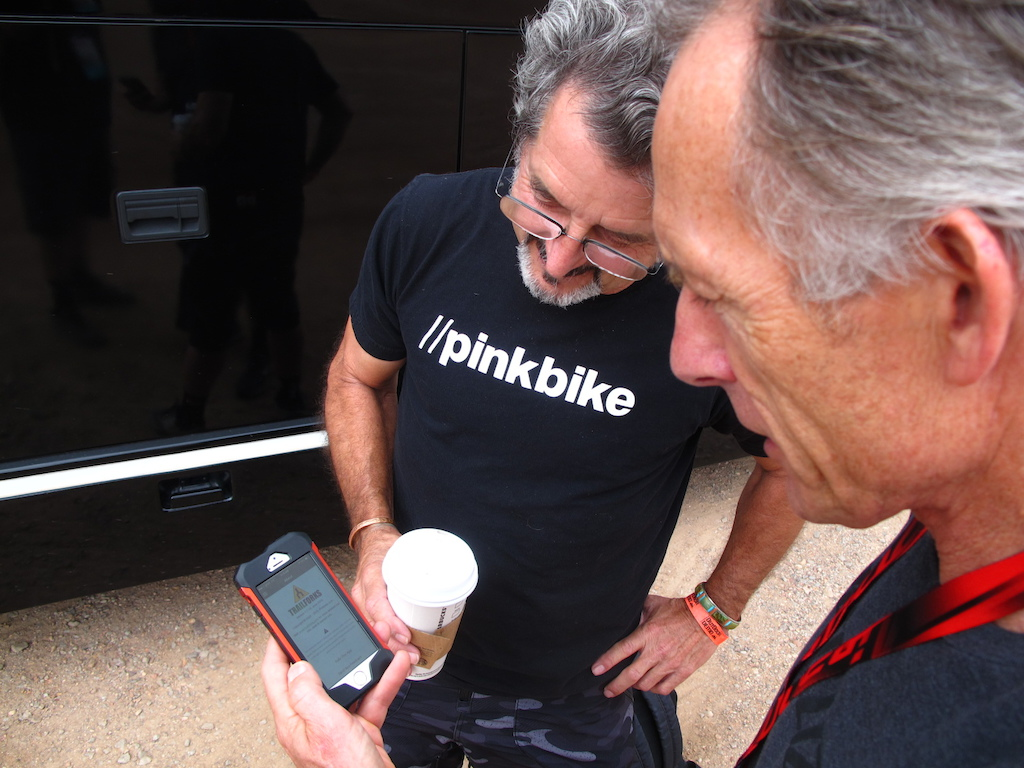 It was pretty cool to have Ned Overend show me that he s got Trailforks on his phone. Here Ned is telling RC that he s pretty into what the possibilities of Trailforks are. Thanks Ned