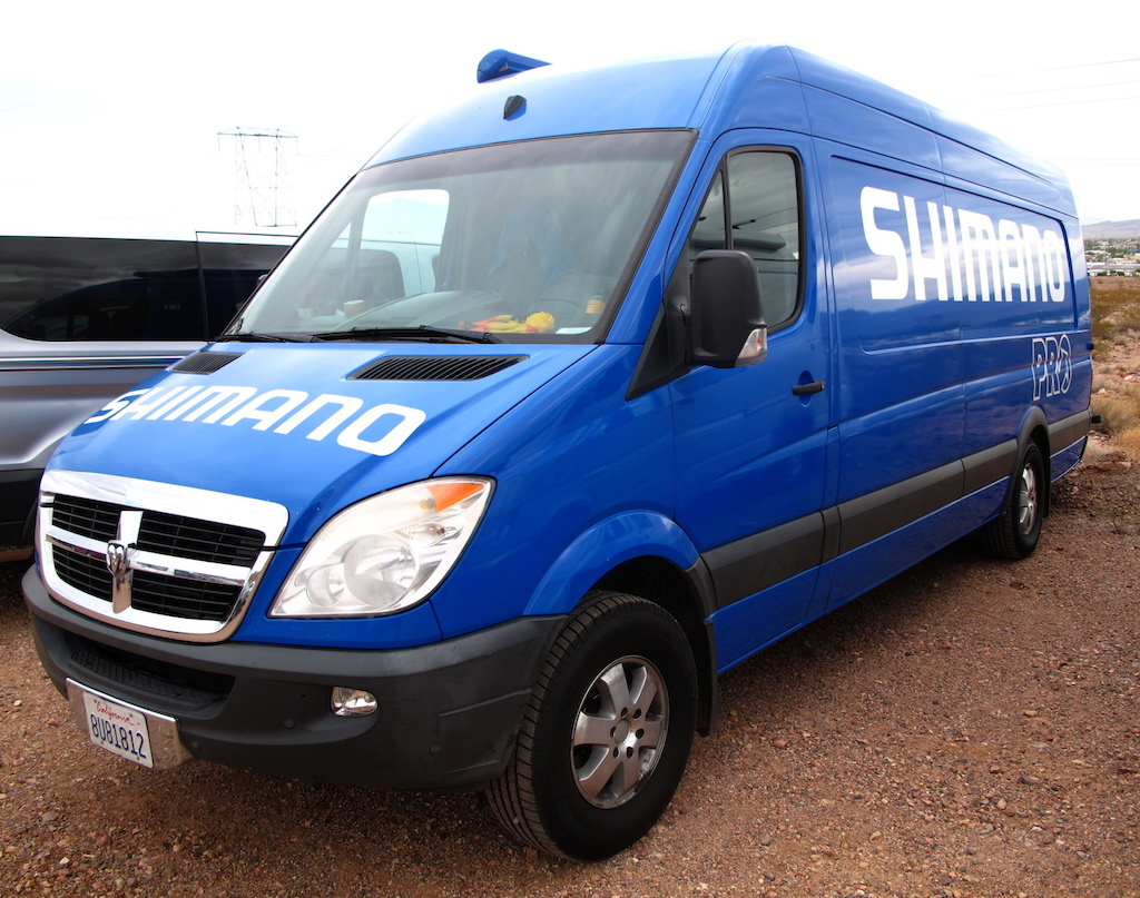 Team blue rocking the Dodge Sprinter.