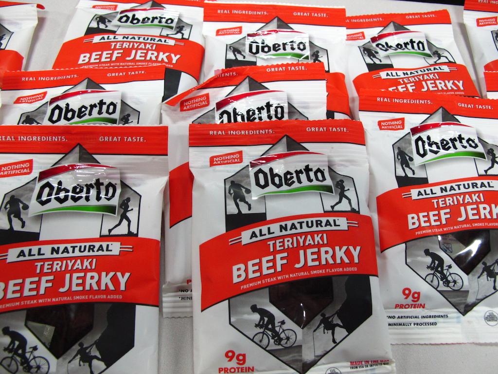 It s got a cyclist on it so I am now a bigger fan of Oberto s beef jerkey. Move over power bars.