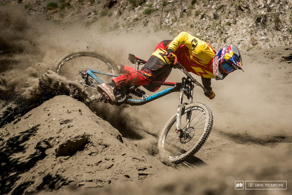 Loic getting loosein Les 2 Alps while shooting for the new ONE Industries catalog.