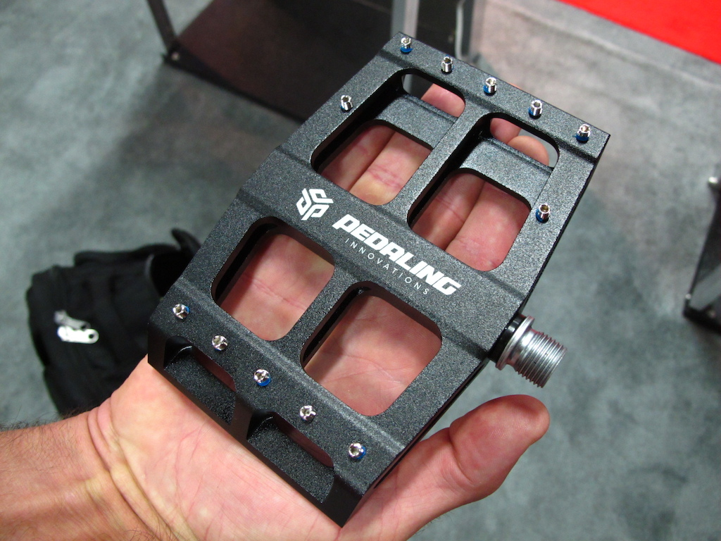 James Wilson of MTB Strength Training has been working hard to bring this all new pedal to market. The Pedaling Innovations Catalyst has 5 of contact underfoot allowing for full support of your arch that should translate to more power transfer to your pedals. Think longer not wider for support. His website is under construction but you can expect pre-sales to be going live soon.
