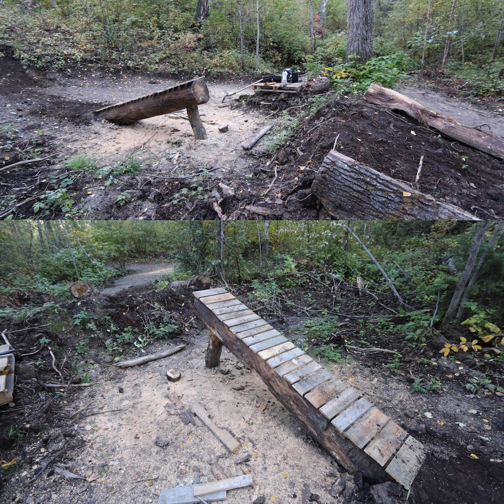 Cannon log feature I put in at the Silin Forest Trails