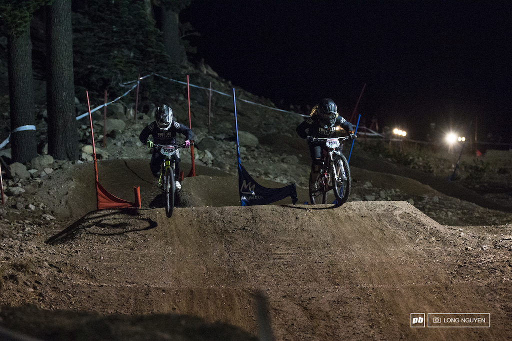 It great to see women riders battling it out. Mckenna Merten  (left), Emily Harris (right).