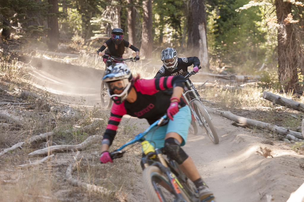 Kat, McKenna and Inga shred the Tyrolean Downhill while filming the first episode of The Line Documentary Series. The Line focuses the lens on women completing in high adrenaline sports.