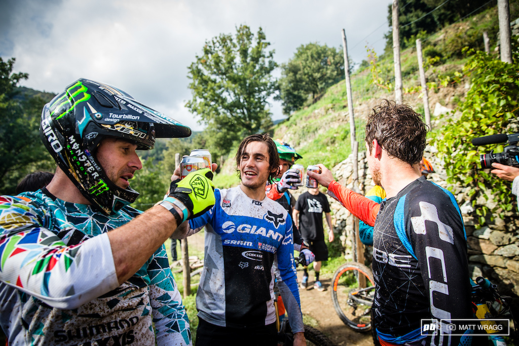 The top men enjoy a beer together after stage six. EWS round 8 Finale Ligure Italy. Photo by Matt Wragg.