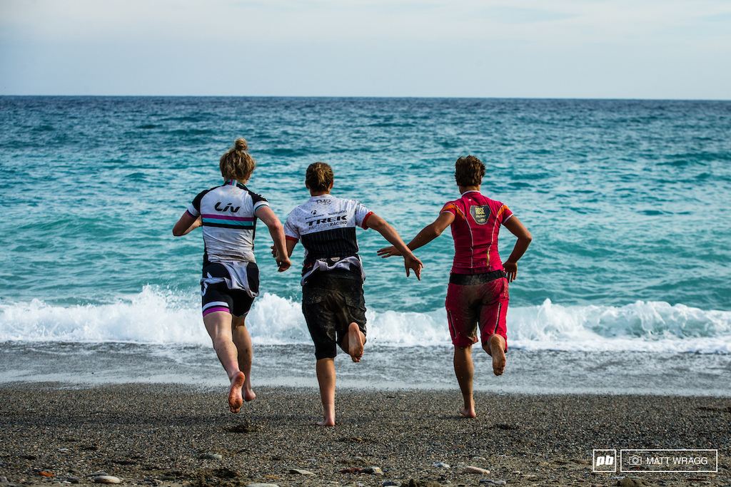 Tracy Moseley ran for the Mediterranean for some refreshement after her victories.