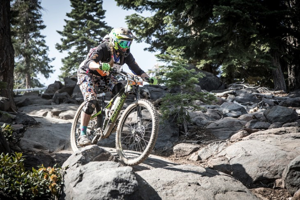 2015 Champion Amy Morrison charged the technical sections at the Northstar Enduro. Photo by Called to Creation.--