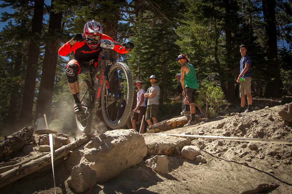Mammoth Mountain Downhill National Champs. Joe Lawwill photo. Gravity Gradient cranks.