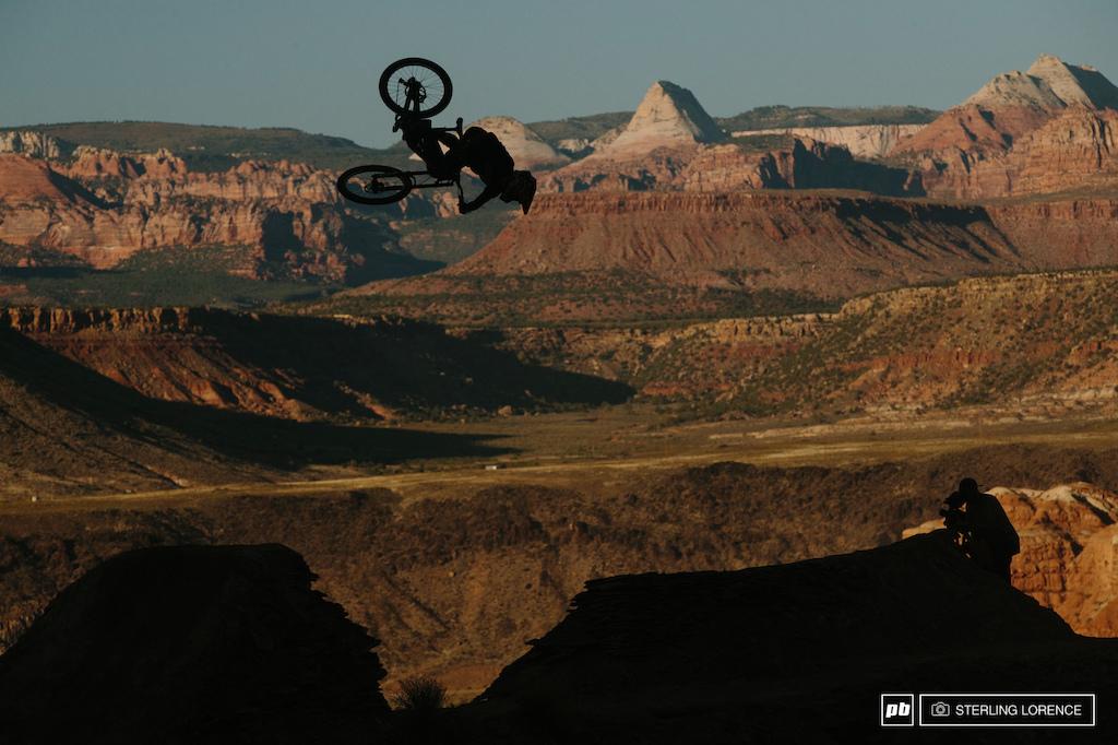 Andreu Lacondeguy flatspin on the the hip at RedBull Rampage 2015 Virgin Utah USA