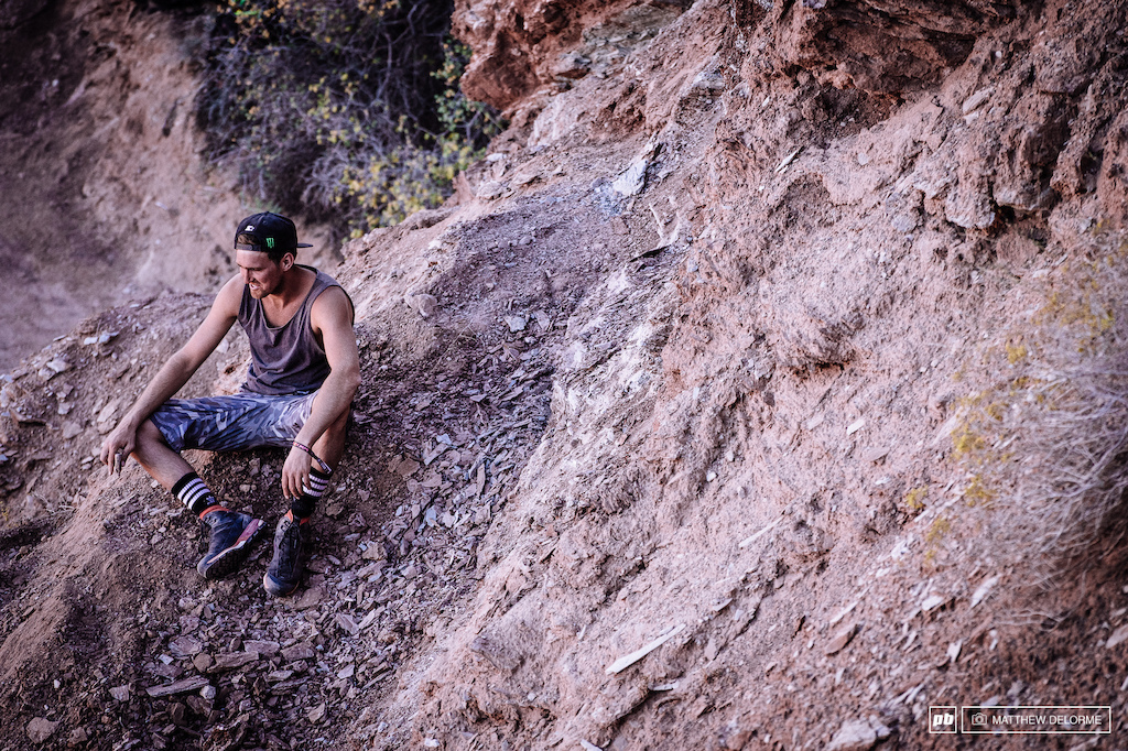 Brendan Fairclough took a little time out to survey progress on his line. The Free Racer had an impressive season on the World Cup how will he do at Rampage this year