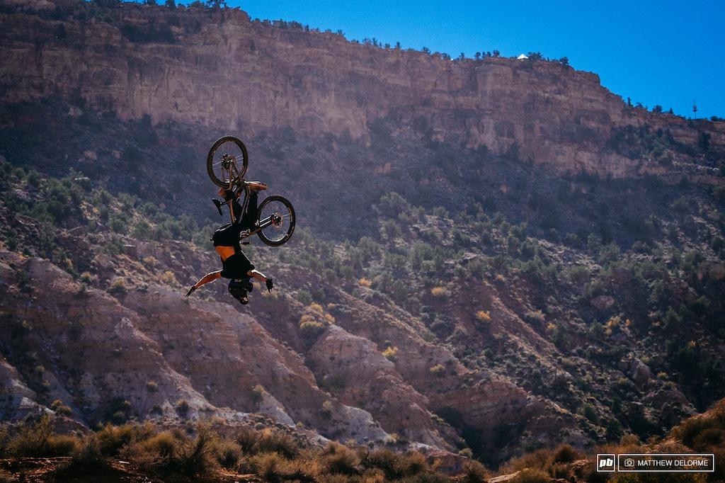 Rheeder with a back flip no hander off the RZR jump.
