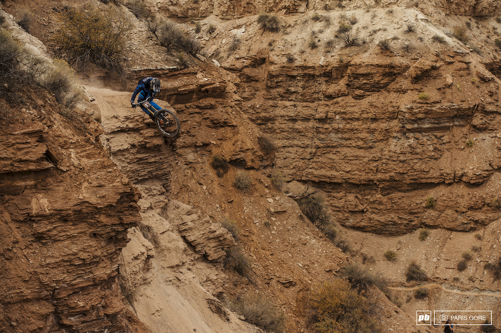 Bas Van Steenbergen s first time at Rampage and you could see just how much fun he was having top to bottom. Nasty big mountain moves to flowy dh tech all in one run.
