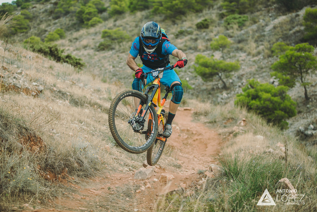 Alejandro Arroyo from Spain races down  stage 2 during the practice for the 5th stop of the European Enduro Series at Malaga / Benalmadena, Spain, on October 17, 2015. Free image for editorial usage only: Photo by Antonio Lopez