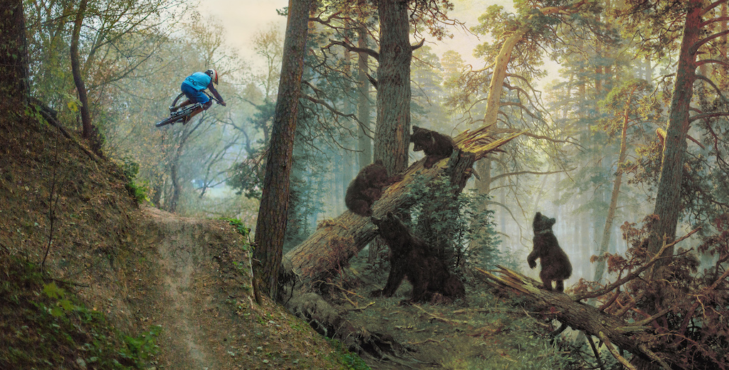 Full version of old Russian painting revealed.  https://en.wikipedia.org/wiki/Morning_in_a_Pine_Forest