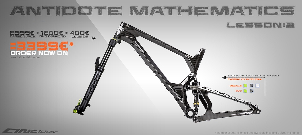 Hello Everybody! Tomorrow starts our new promotion! Check below picture for more and share with friends!  Antidote + CaneCreek + DVO = amazing price !!  http://www.antidotebikes.com/#order   ------------------------------------------------ CarbonJack Large size now available!  First shipping starts from on the 28th October!
