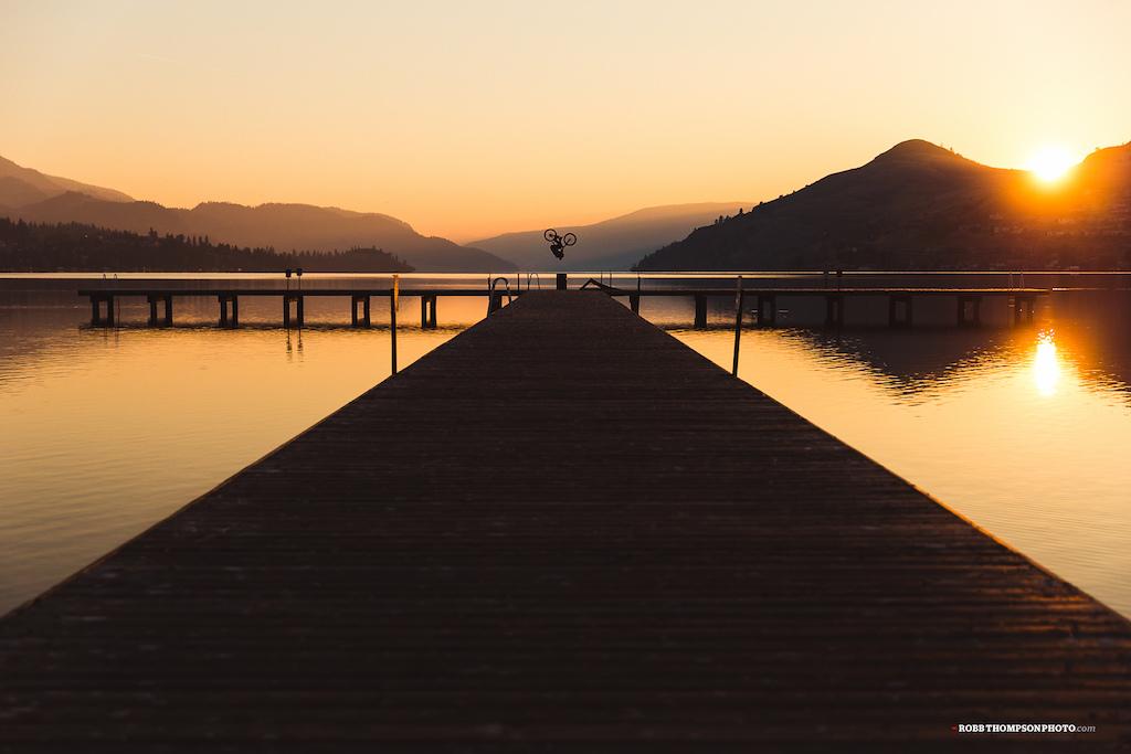 Mini front flip on the Kalamalka Lake dock.