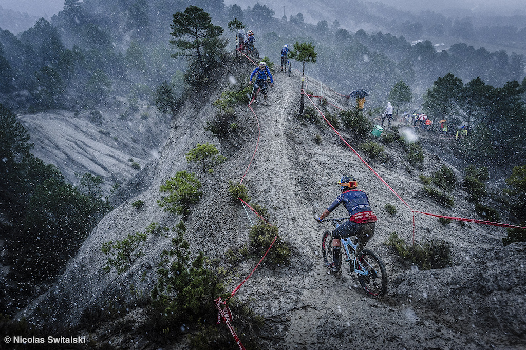 "Last stage in Ainsa, Spain for the 2015 EWS. This stage got cancelled due to some ""light"" weather conditions. Here Caro manages to skid her way down."