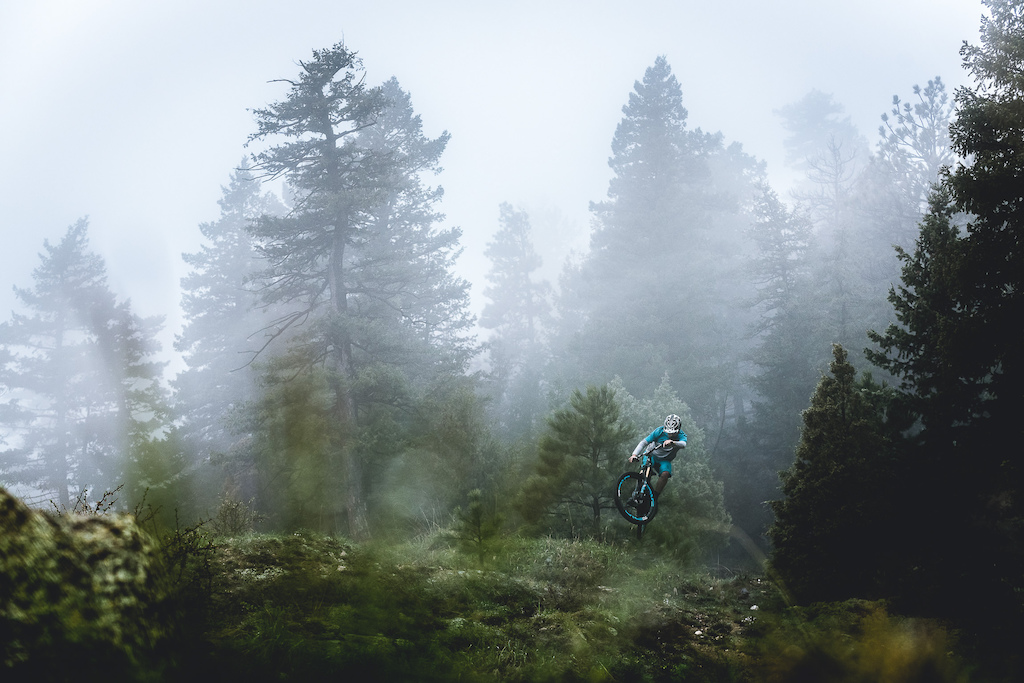 Shawn Neer shreds a rare foggy day at Buffalo Creek on Colorado's Front Range