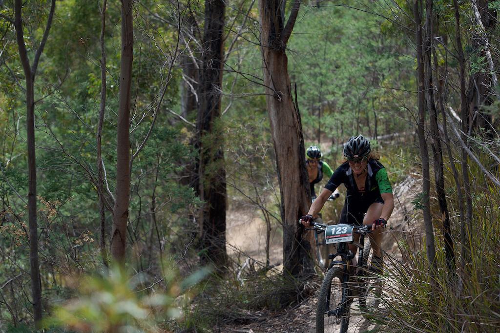 Vets rider Laura McCaughey putting in some power.