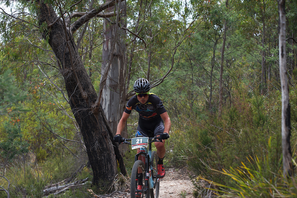 Kyle Ward showing that whilst he can throw down on the road his strenths still lie in mountainbiking.
