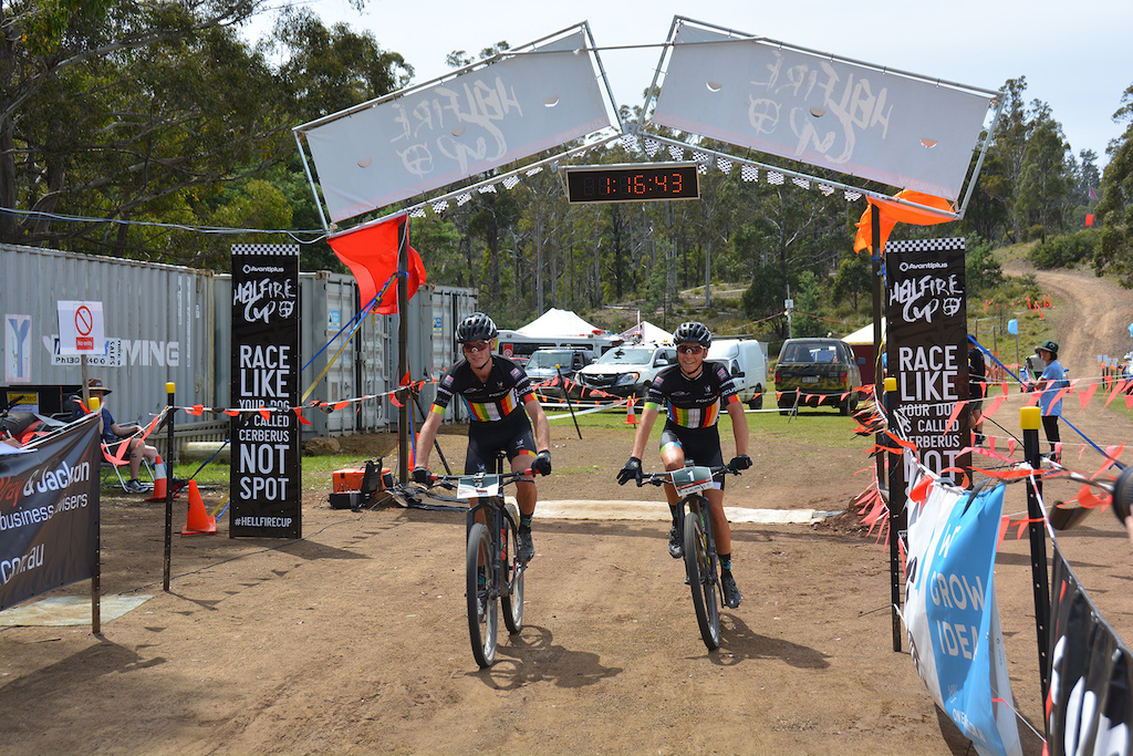 Tom Goddard and Scott Bowden crossing the line in 3rd place