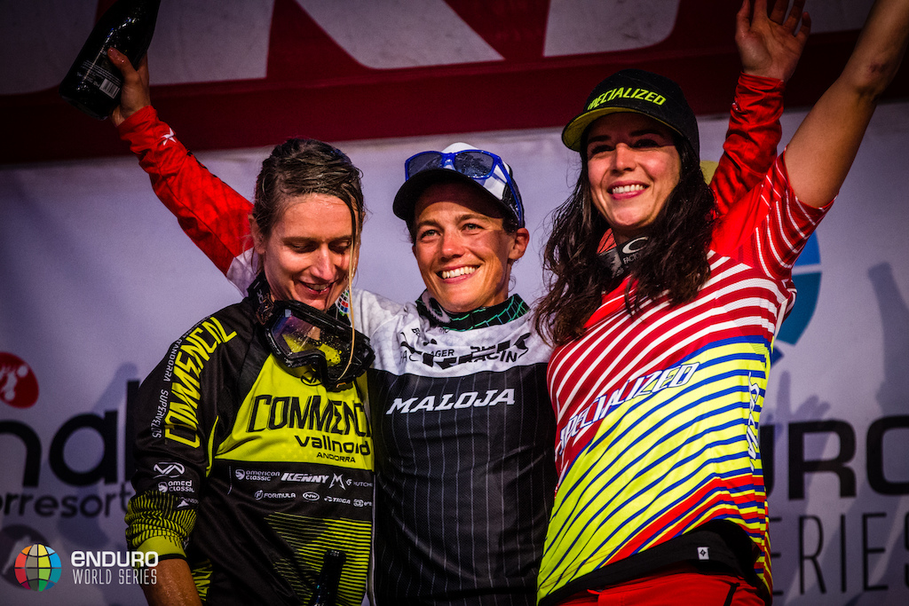 Womens series podum. EWS round 8 Finale Ligure Italy. Photo by Matt Wragg.