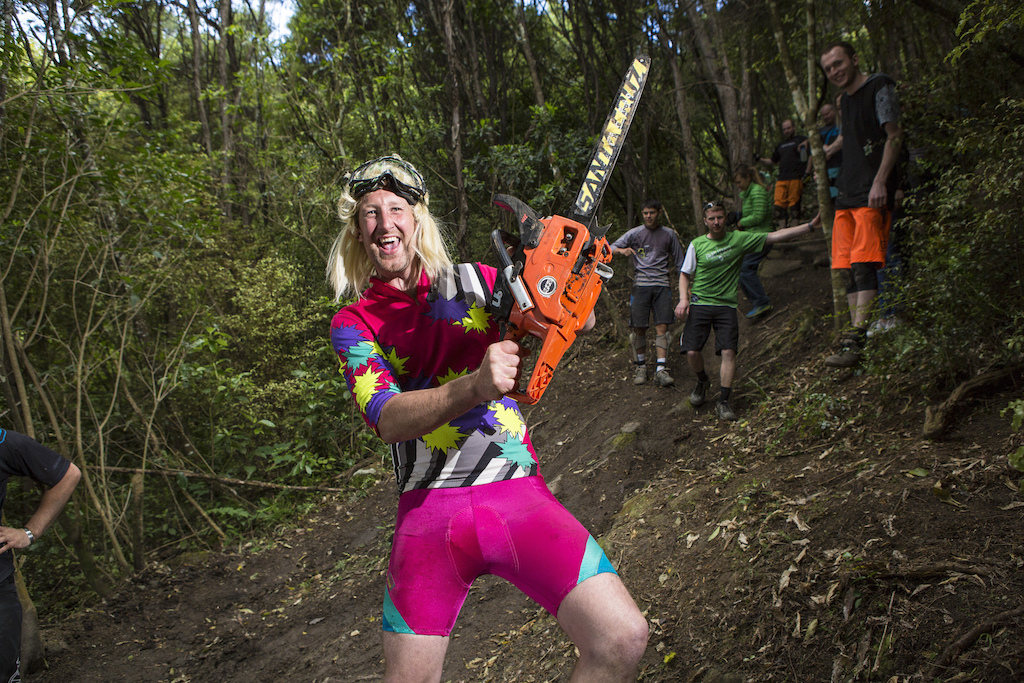 Ben Shayler revs up the crowds during Day 2 of the 2015 Urge 3 Peaks Enduro mountain biking race held in Dunedin, New Zealand. November 29, 2015.