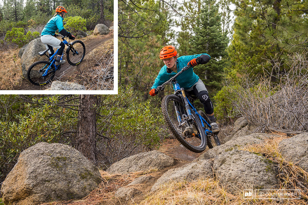 Nikki Hollatz testing Fall Winter Riding clothing for Pinkbike in Bend OR in 2015