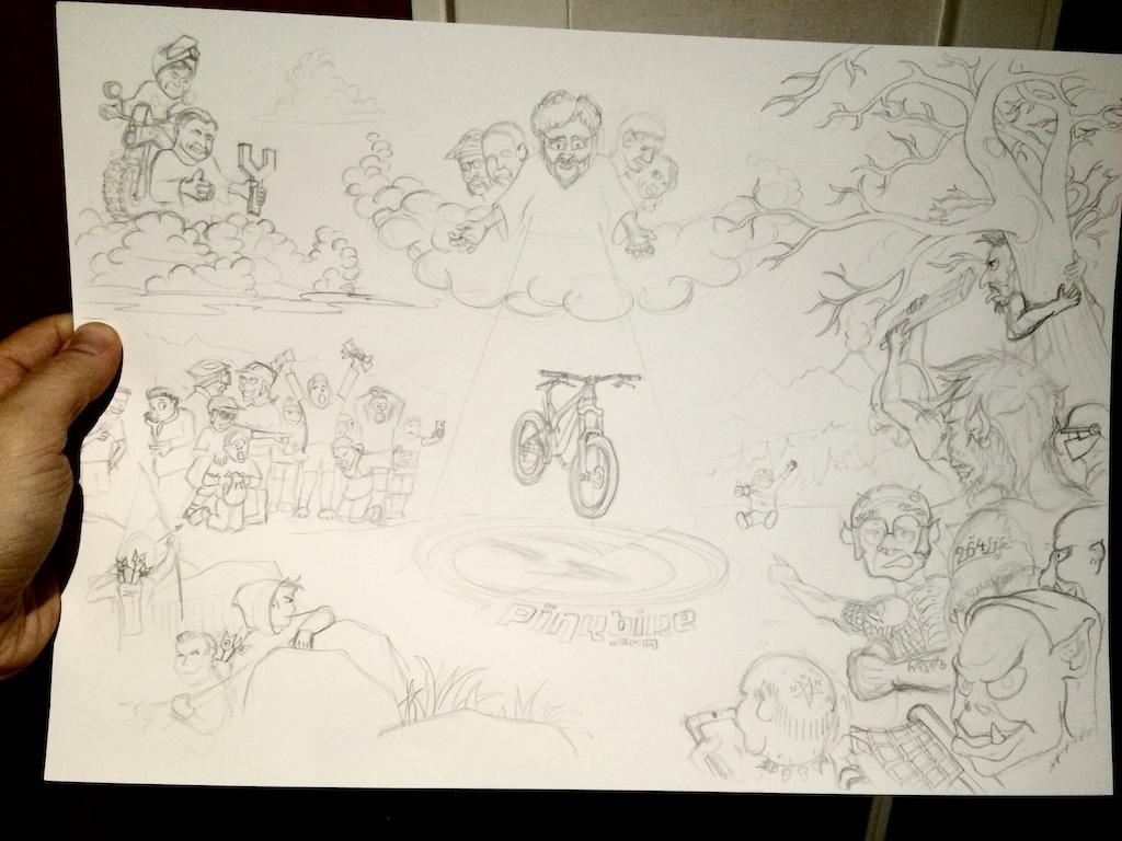 Pinkbike tribute - Work in progress #3 - Everybody in - ready for ink pen!