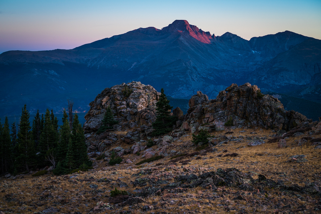 Longs Peak at sunset. The back country doesn t get much better than this.