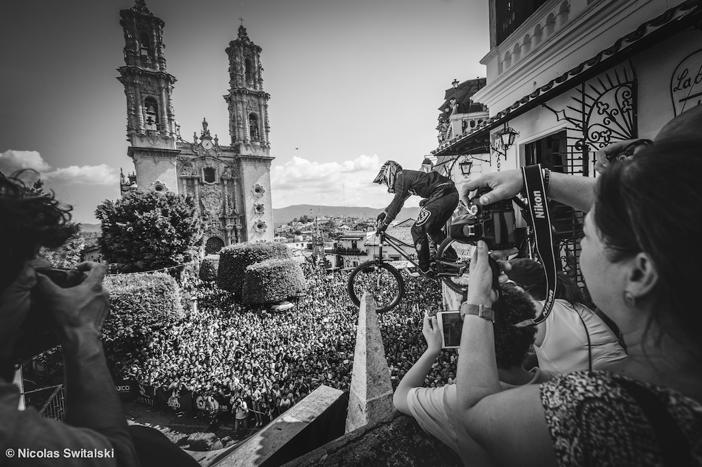 """Mitch Ropelato dropping into the Taxco plaza with a """"few"""" eyes on him!"""