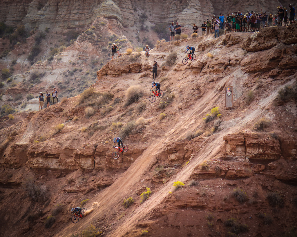 Paul Bas absolutely sending it on one of the biggest drops at Red Bull Rampage.