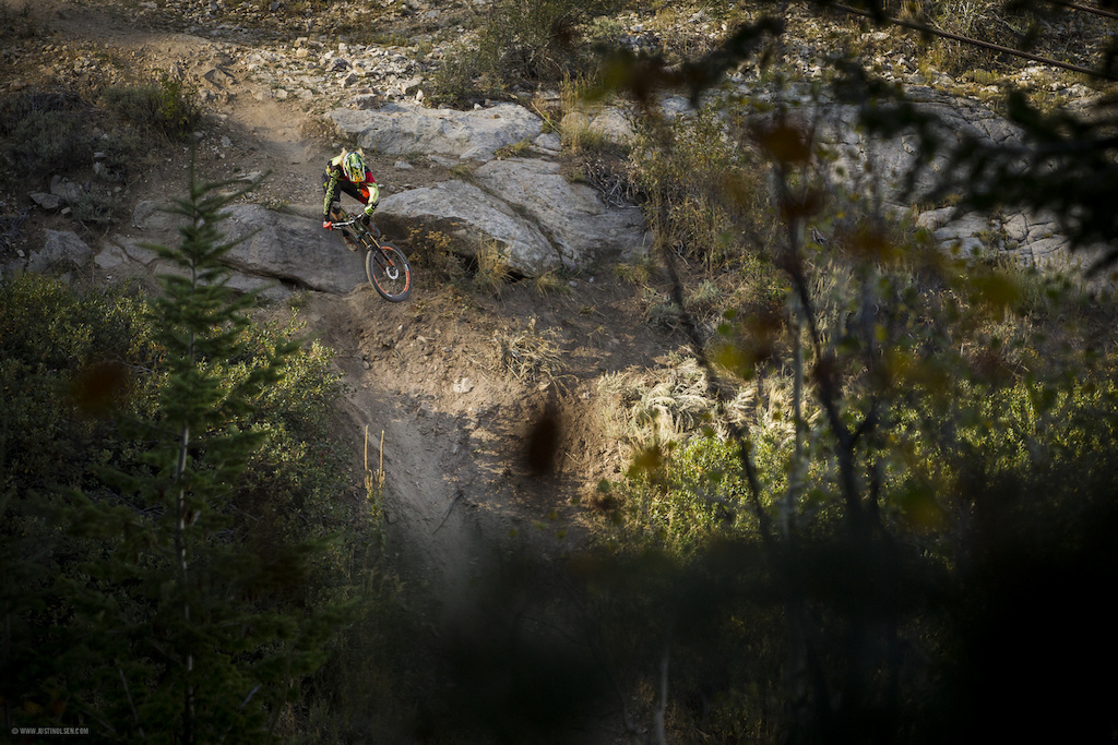 Cody Kelley ripping the DH trail at Canyons Bike Park. Sep 2015