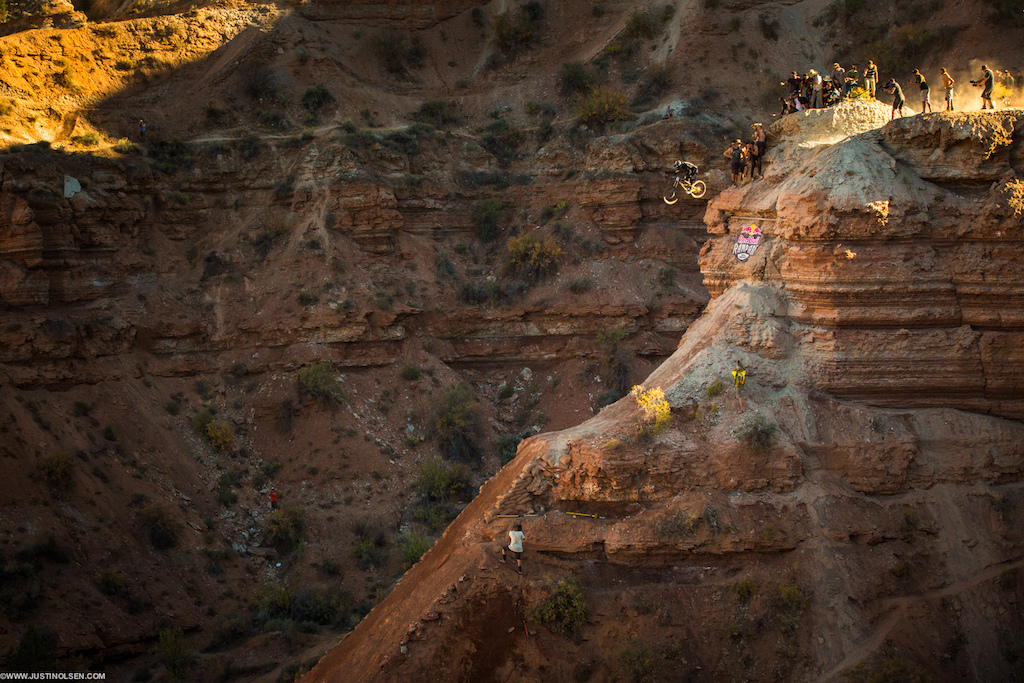 Tyler McCaul testing out his massive drop at Red Bull Rampage 2015. He nailed it.