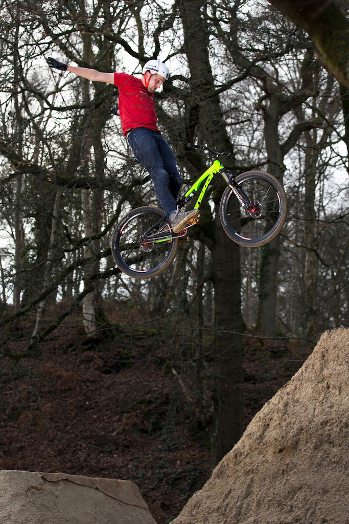 Chris Smith riding Buckland Rings dirt jumps in Lymington Hampshire 28th January 2016 pic by Matt Watson