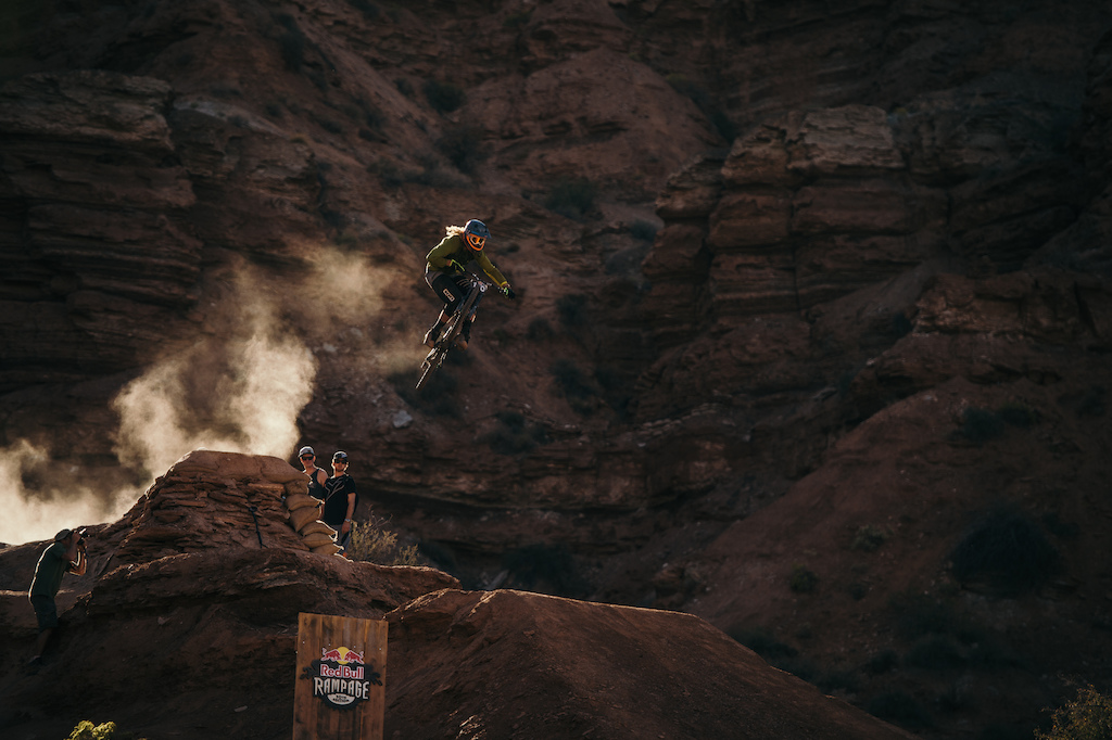 Kelly McGarry getting the last of the afternoon light during the 2015 Red Bull Rampage in Virgin, UT.